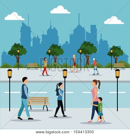 people walking in street city vector illustration eps 10