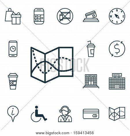Set Of Transportation Icons On Drink Cup, Info Pointer And Credit Card Topics. Editable Vector Illustration. Includes Locate, Paralyzed, Airport And More Vector Icons.