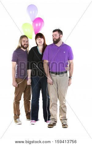 Millennial Woman with Two Men illustrative of a romantic triangle or polyamory and of modern romance or friendship.