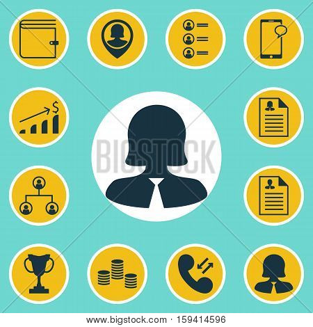 Set Of Management Icons On Wallet, Curriculum Vitae And Tournament Topics. Editable Vector Illustration. Includes Structure, Call, Profile And More Vector Icons.