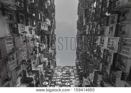 Black and White, crowded residence apartment in Hong Kong city