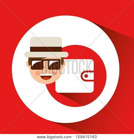 tourist man with camera and wallet my vector illustration eps 10