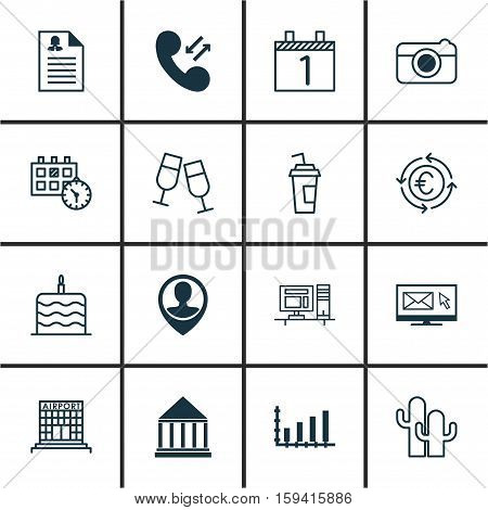 Set Of 16 Universal Editable Icons. Can Be Used For Web, Mobile And App Design. Includes Icons Such As Champagne Glasses, Education Center, Cacti And More.