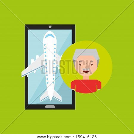 hand holds mobile older man application travel airport vector illustration eps 10