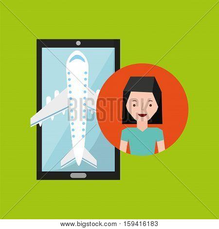 hand holds mobile girl short hair application travel airport vector illustration eps 10