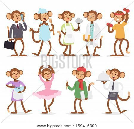 Monkey like people smiling nature different professions. Playful mammal funny character vector set. Happy wild animals jungle zoo collection with playful safari adorable chimpanzee.