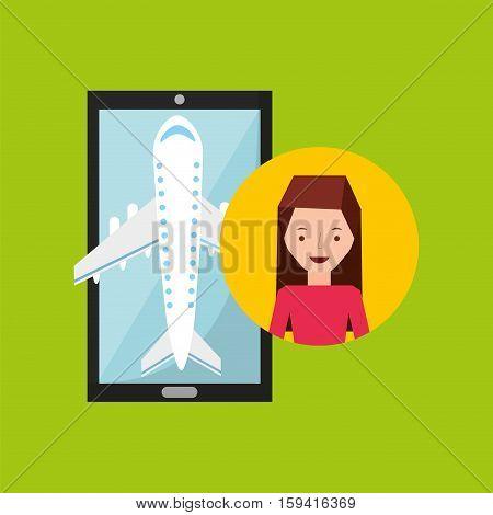 girl brunette hand holds mobile application travel airport vector illustration eps 10