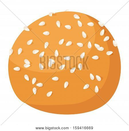Cookie cake isolated tasty snack delicious. Homemade pastry biscuit isolated on white background. Vector traditional gourmet sweet dessert bakery food.