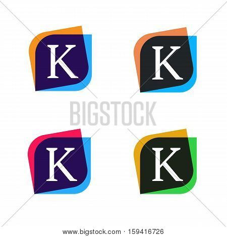 Abstract shape element company logo sign icon vector design. K letter logotype