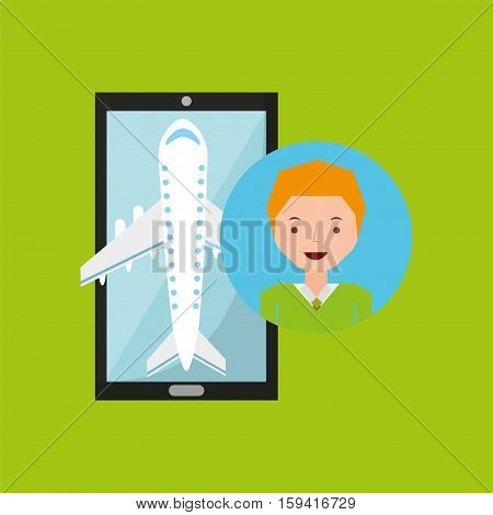 guy blond hand holds mobile application travel airport vector illustration eps 10