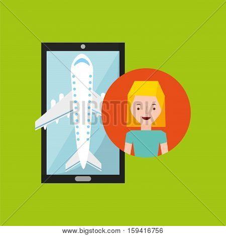 young woman hand holds mobile application travel airport vector illustration eps 10