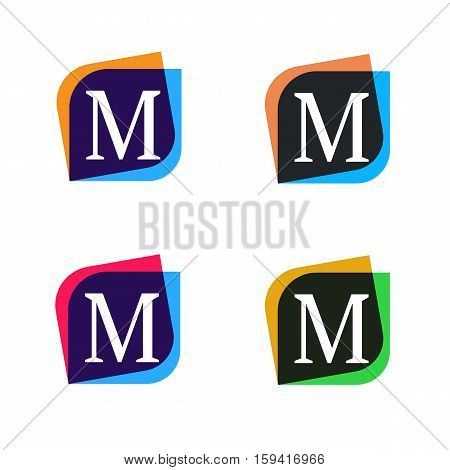 Abstract shape element company logo sign icon vector design. M letter logotype