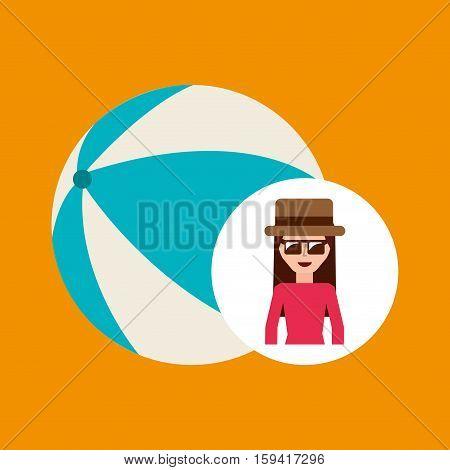 toursit female hat sunglasses ball plastic vector illustration eps 10