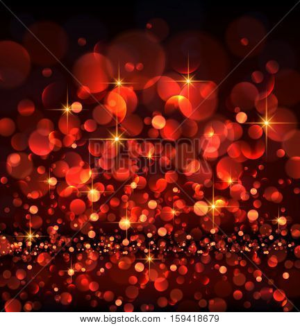 Abstract festive red luminous background. Vector illustration.