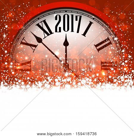 2017 New Year red background with clock and snow. Vector illustration.