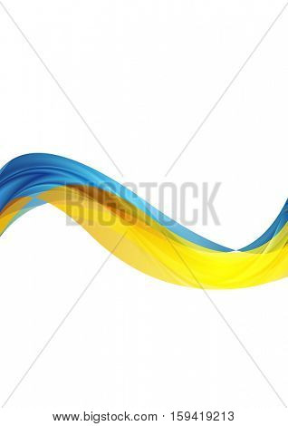 Blue and yellow abstract waves vector art background
