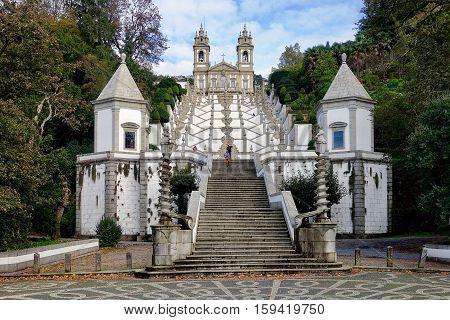 Braga, Portugal, November 9, 2016: The staircase and church «Bom Jesus» in Braga, Portugal.