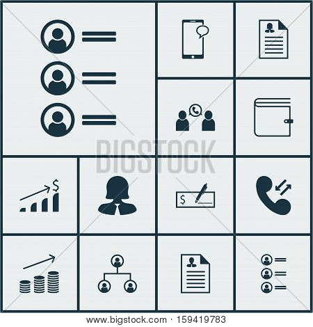 Set Of Management Icons On Female Application, Bank Payment And Phone Conference Topics. Editable Vector Illustration. Includes Applicants, Job, Career And More Vector Icons.