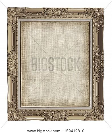Old Golden Frame With Empty Grunge Linen Canvas For Your Picture, Photo, Image. Beautiful Vintage Ba