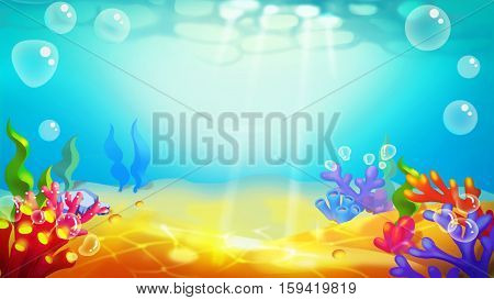 Sand Bottom Undersea! Video Game's Digital CG Artwork, Concept Illustration, Realistic Cartoon Style Background and Character Design