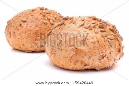 Two hamburger bun or roll with sesame seeds isolated on white background cutout