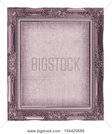 Picture Frame With Empty Grunge Linen Canvas For Your Picture, Photo, Image. Beautiful Vintage Backg