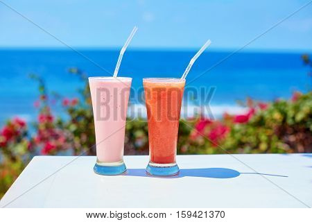 Two Fresh Juices Or Smoothies On A Tropical Resort