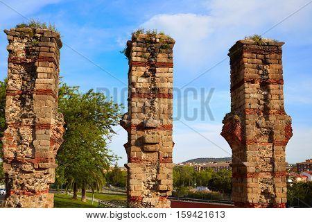 Acueducto Los Milagros in Merida Badajoz aqueduct at Extremadura of Spain image shot from the exterior public floor