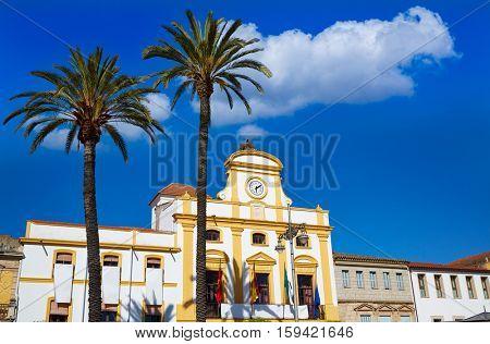 Merida in Spain Plaza de Espana square at Badajoz Extremadura by via de la Plata image shot from the exterior public floor