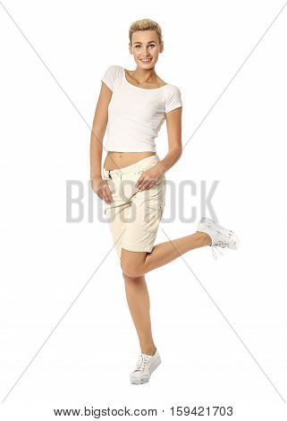 Beautiful Sexual Model Blonde Pose In Beige Breeches