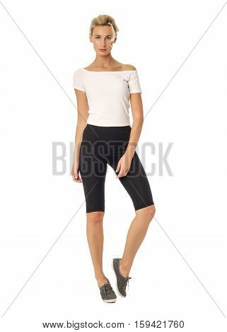 Beautiful Sexual Model Blonde Pose In Tight  Breeches