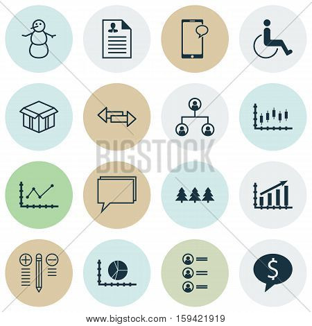 Set Of 16 Universal Editable Icons. Can Be Used For Web, Mobile And App Design. Includes Icons Such As Tree Structure, Curriculum Vitae, Stock Market And More.