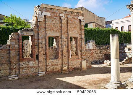 Merida in Badajoz Roman ruins at Spain by Via de la Plata way image shot from the exterior public floor