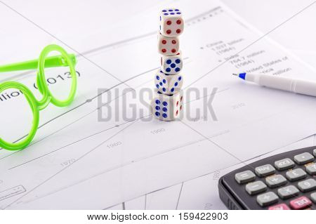 Dice tower business frequency table with pointer pen calculater glases
