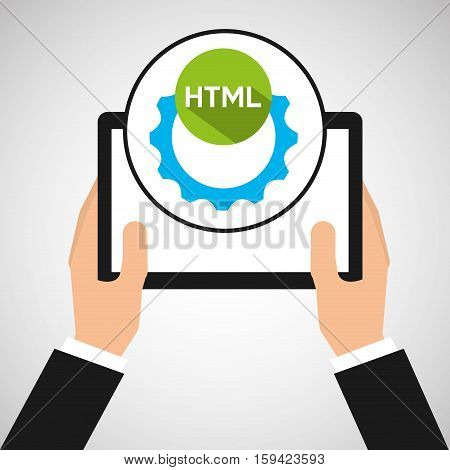 hand holds tablet colaboration html vector illustration eps 10