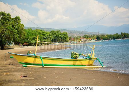 Outrigger Boat Ot The Beach In Lovina, Bali