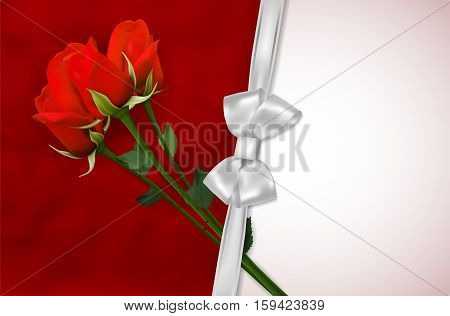 Blank Card With Red Roses And Silver Ribbon
