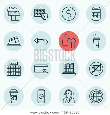 Set Of Traveling Icons On Forbidden Mobile, Crossroad And Shopping Topics. Editable Vector Illustration. Includes Phone, No, Operator And More Vector Icons.