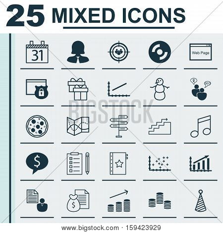 Set Of 25 Universal Editable Icons. Can Be Used For Web, Mobile And App Design. Includes Icons Such As Road Map, Report, Crotchets And More.