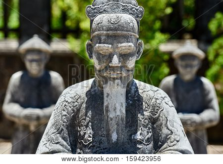 traditional statues guardians at the Imperial Tombs of Khai Dinh in Hue.Vietnam