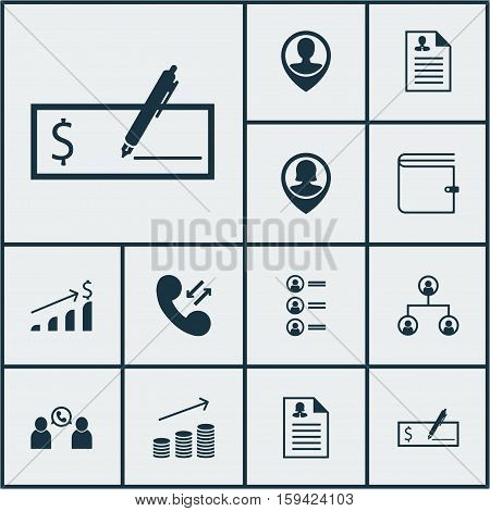 Set Of Human Resources Icons On Tree Structure, Female Application And Wallet Topics. Editable Vector Illustration. Includes Increase, Resume, Job And More Vector Icons.
