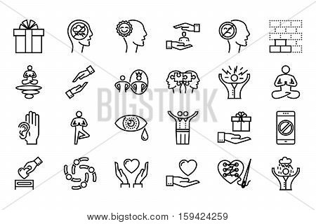 Conscious Living and Friends Relations Thin Line Related Icons Set on White Background. Simple Mono Linear Pictogram Pack Stroke Vector Logo Concept for Web. Editable Stroke. 48x48 Pixel Perfect.