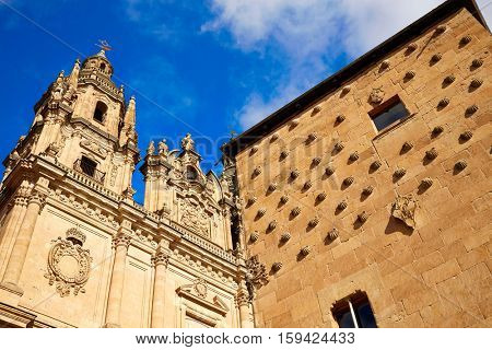 Salamanca Clerecia church and Casa Conchas shell house in Spain exterior image shot from public floor