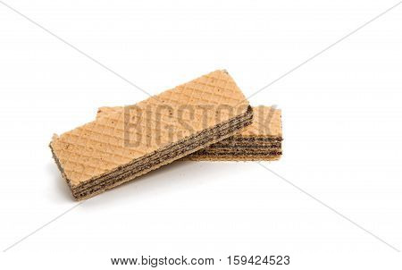 Wafer chocolate snack on a white background