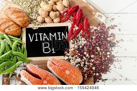 Foods Highest In Vitamin B1 (thiamin). Healthy Diet Eating.
