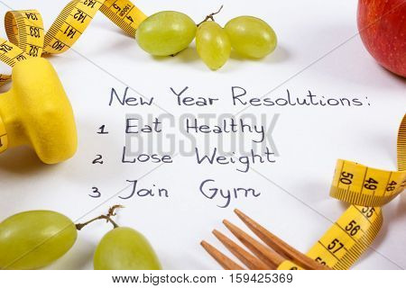 New Year Resolutions, Fruits, Dumbbells And Centimeter, Healthy Food And Lifestyle