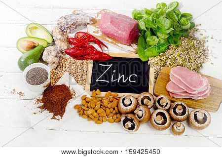 Foods Highest in Zinc. Healthy eating. Flat lay poster