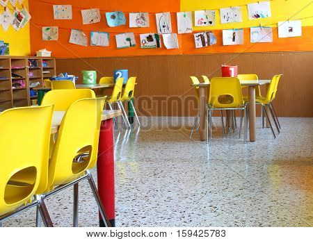 Nursery School With Tables And Chairs