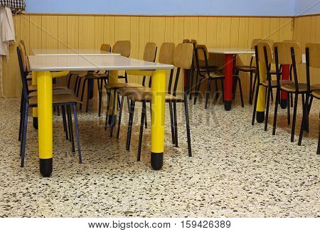 Tables And Colored Chairs In A Nursery School
