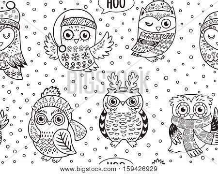Black and white hand drawn Christmas owls seamless pattern. Cartoon style. Ink doodle vector. Coloring book page